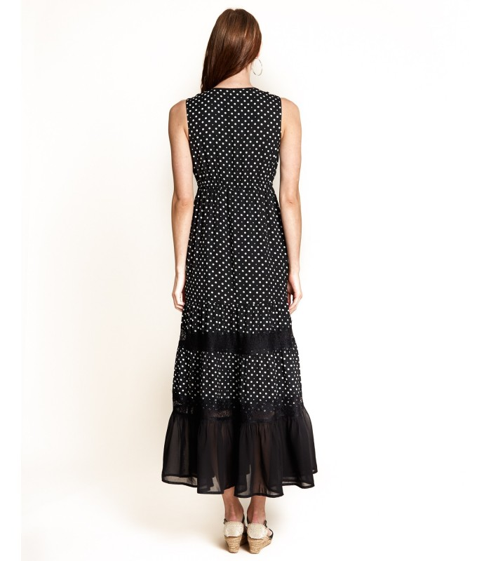 Polka Dot Dress With Lace On Skirt
