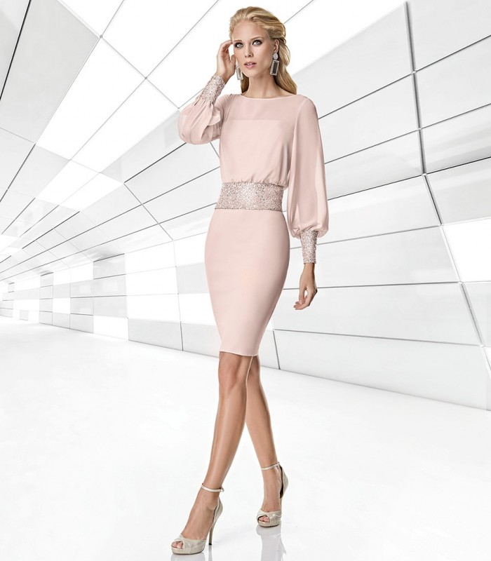 Nude short dress with silver detail on cuffs and waist