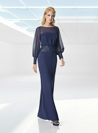 Long dress Sonia Peña navy and sequins