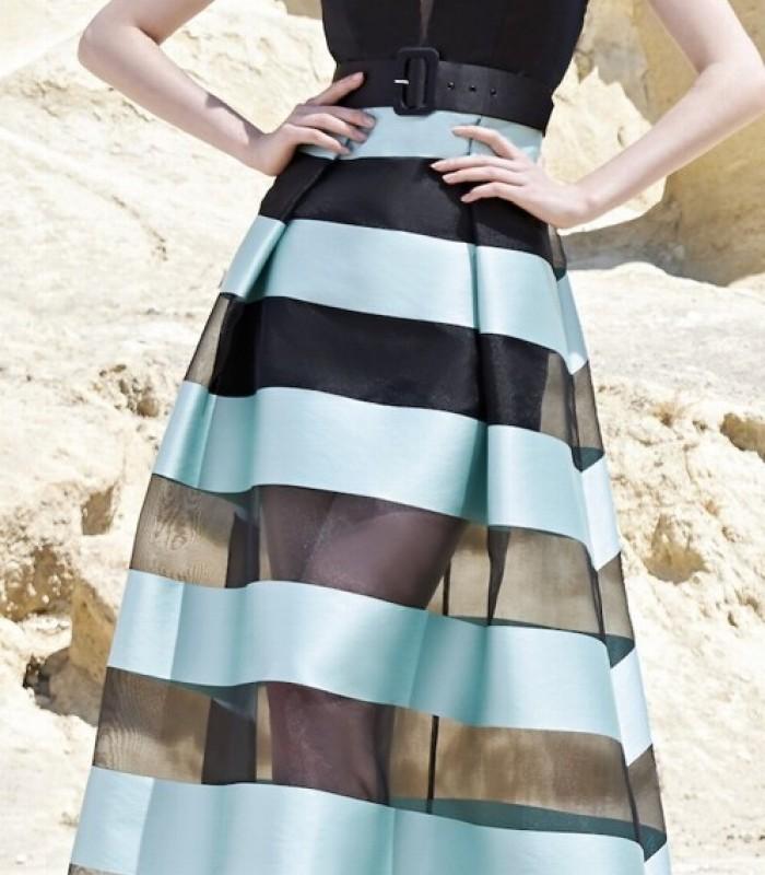 Vestido largo verde agua rayas y negro Sonia Peña