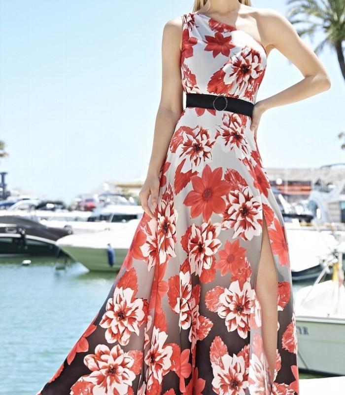 Long printed dress with asymmetric neckline Almarella