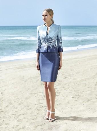 Conjunto chaqueta y vestido tonos azules Couture