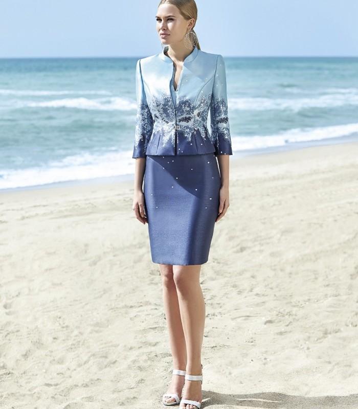 Couture blue tones jacket and dress set