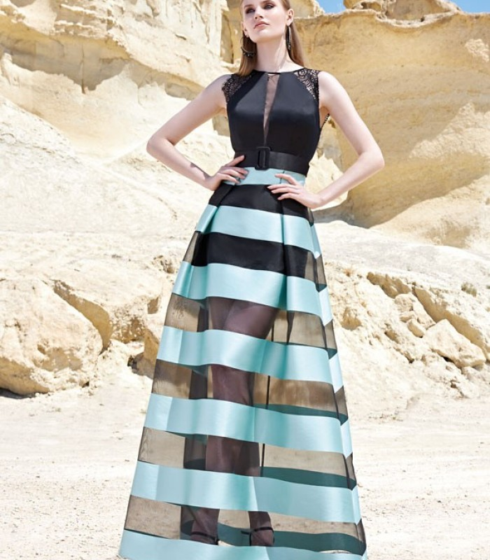 Long green water striped and black dress Sonia Peña
