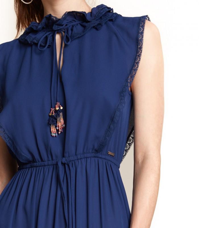 Vestido largo liso con encaje en el cuello