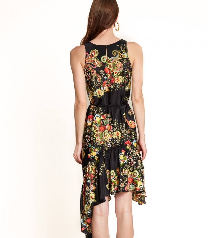Printed dress with embroidery