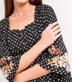 Dot print dress with floral details