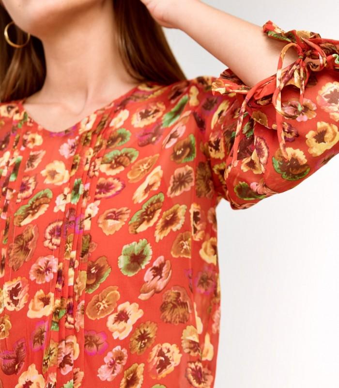 Blusa estampada de corte amplio con detalles