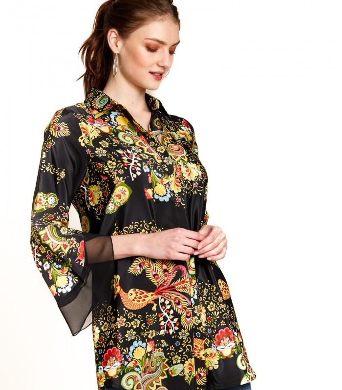 Printed ruffled sleeve blouse