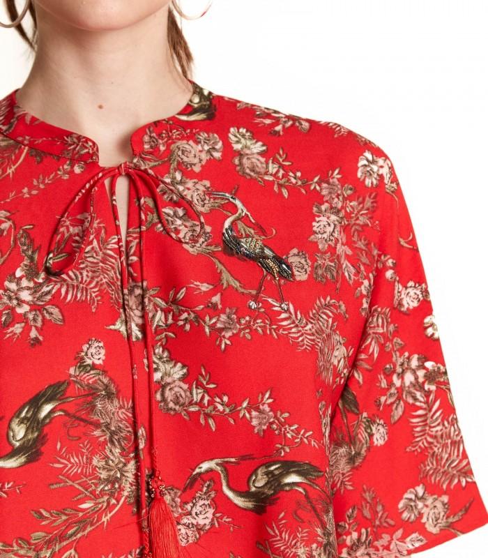 Blusa cuello mao detalle pavo real