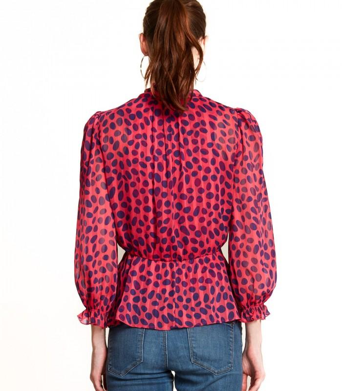 Blusa estampado de lunares con lazo en el cuello
