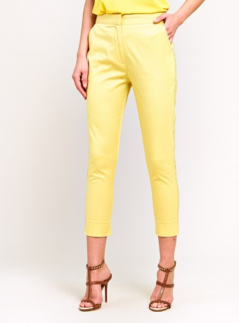 Pantalon recto con banda decorativa lateral