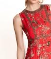 Vestido largo estampado con detalles