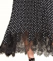 Pleated polka dot skirt with lace detail