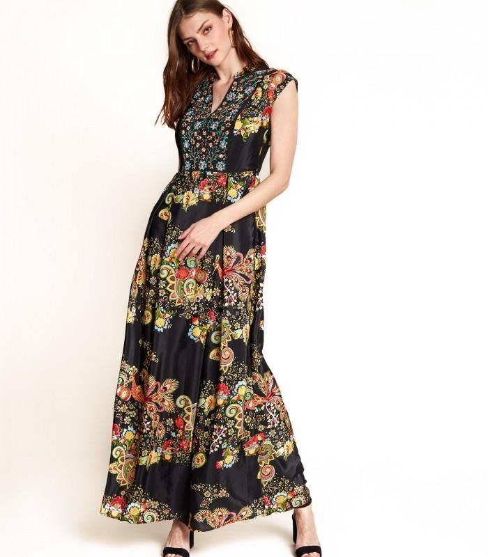 Vestido largo estampado con bordado