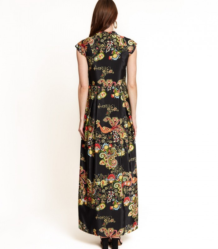 Printed long dress with embroidery