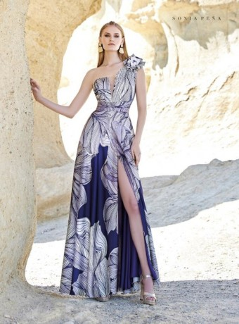 Long printed dress with asymmetric neckline flower
