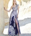 Vestido largo estampado escote asimétrico flor