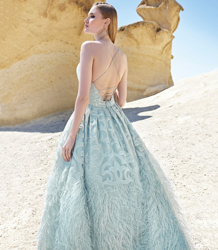 Long dress with horor neckline and feathers