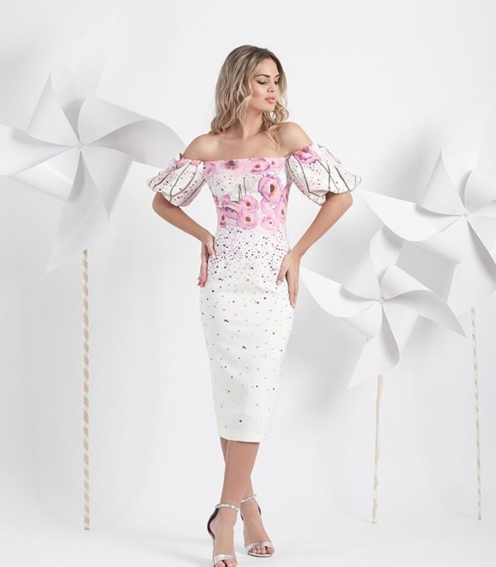 Midi printed dress with puffed sleeves