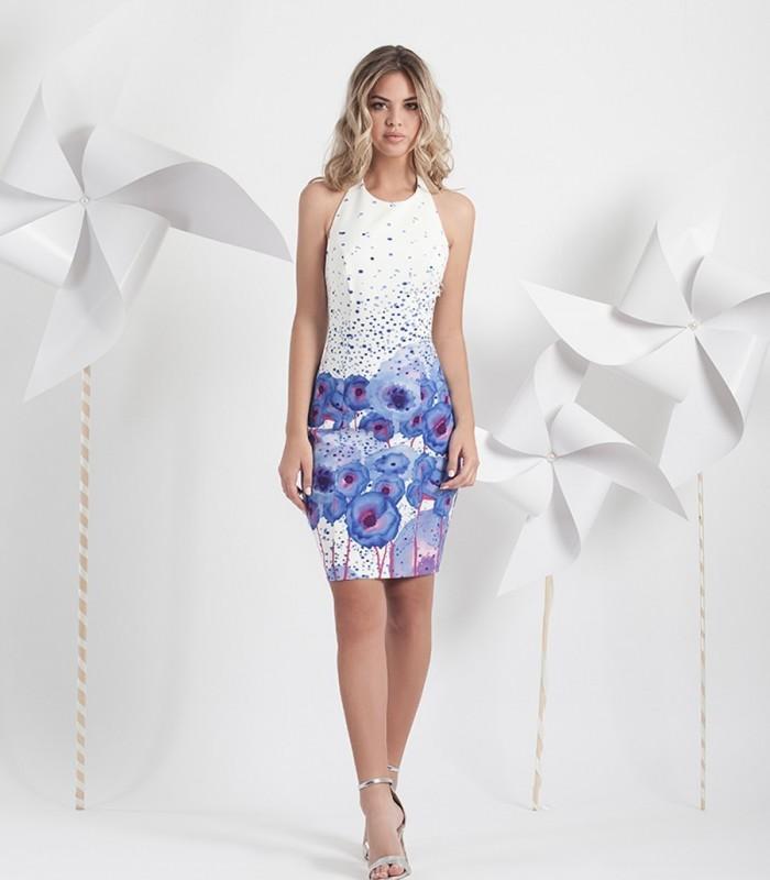Printed short dress with flower back strap