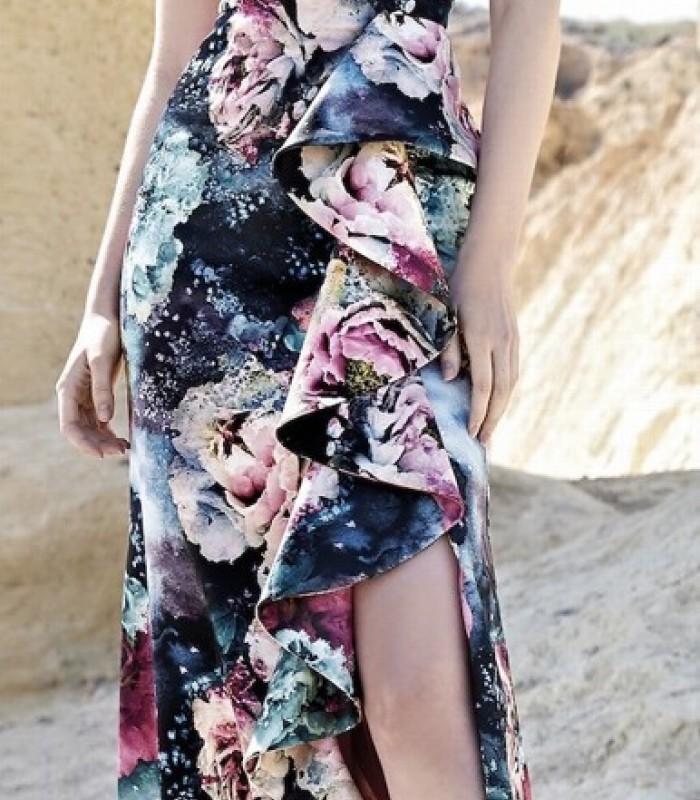 Vestido largo estampado asimétrico flor en el hombro
