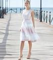 Vestido midi de rayas en la falda de Sonia peña