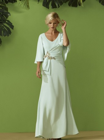 Long ruched dress with jewel detail