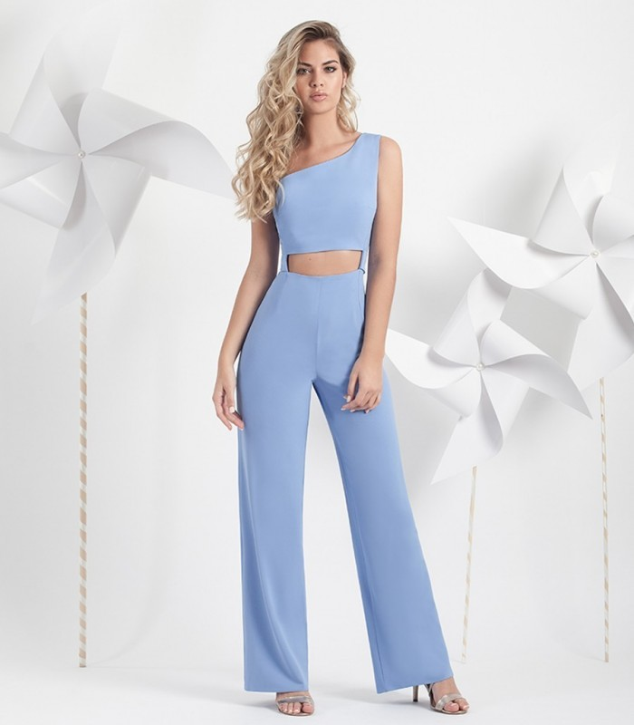 Asymmetric jumpsuit with wide belt.
