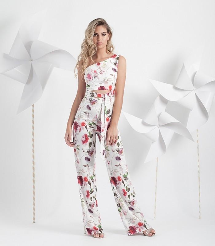Print  asymmetric jumpsuit with wide belt.