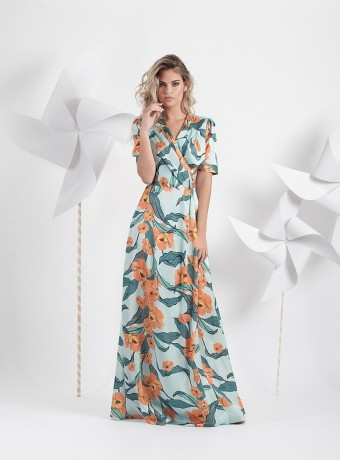 Long printed dress with crossover neckline