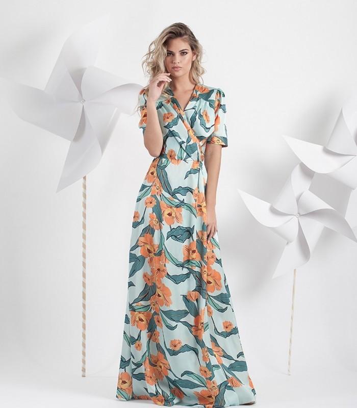 Vestido largo estampado con escote cruzado