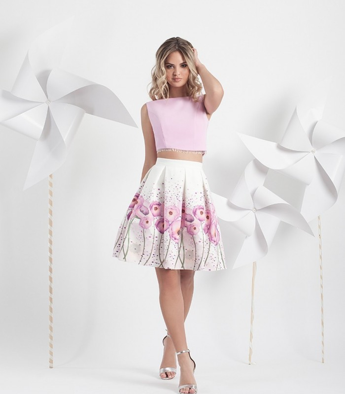 Printed pleated short skirt