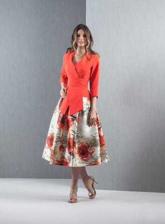 Conjunto top y falda jacquard estampada