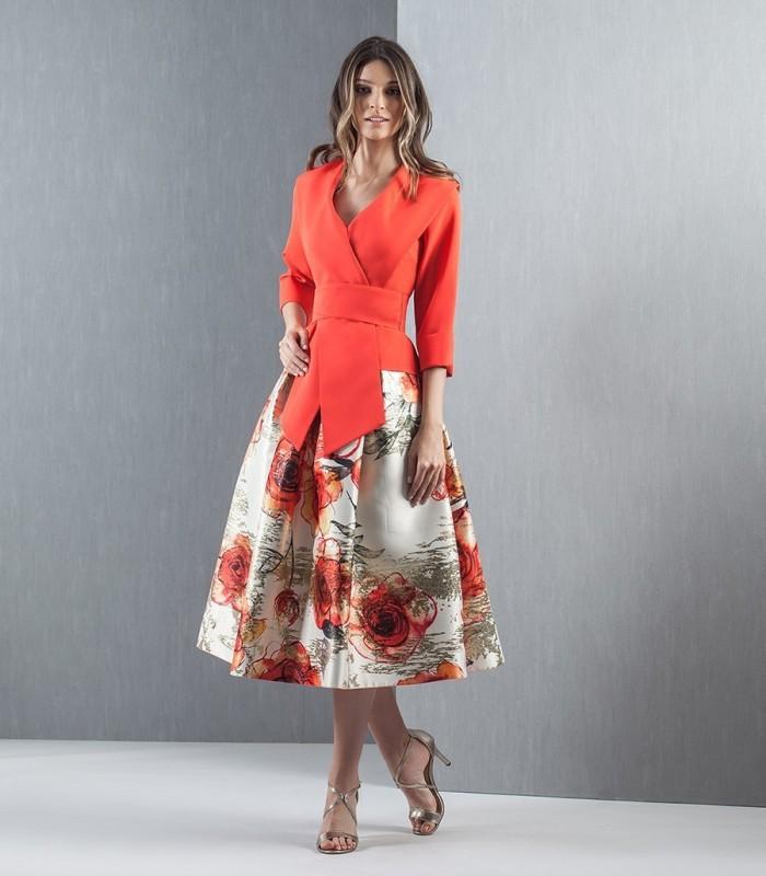 Printed jacquard skirt and top set