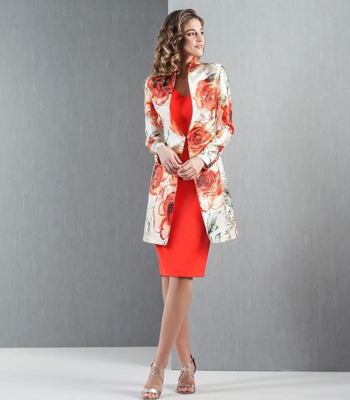 Conjunto vestido y levita jacquard estampado floral