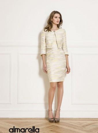 Yellow short straight dress and jacket set