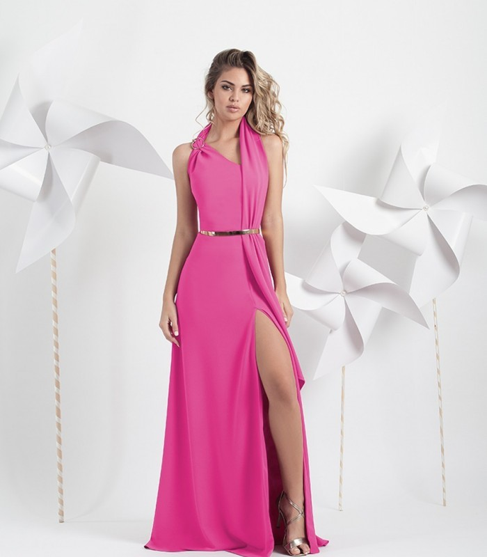 Long dress with buckle