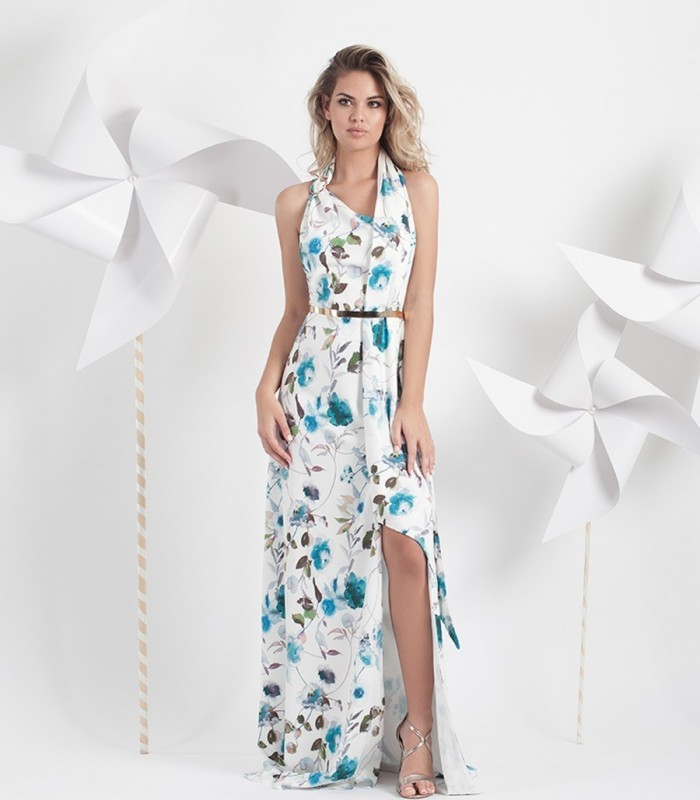 Printed long dress with brace.
