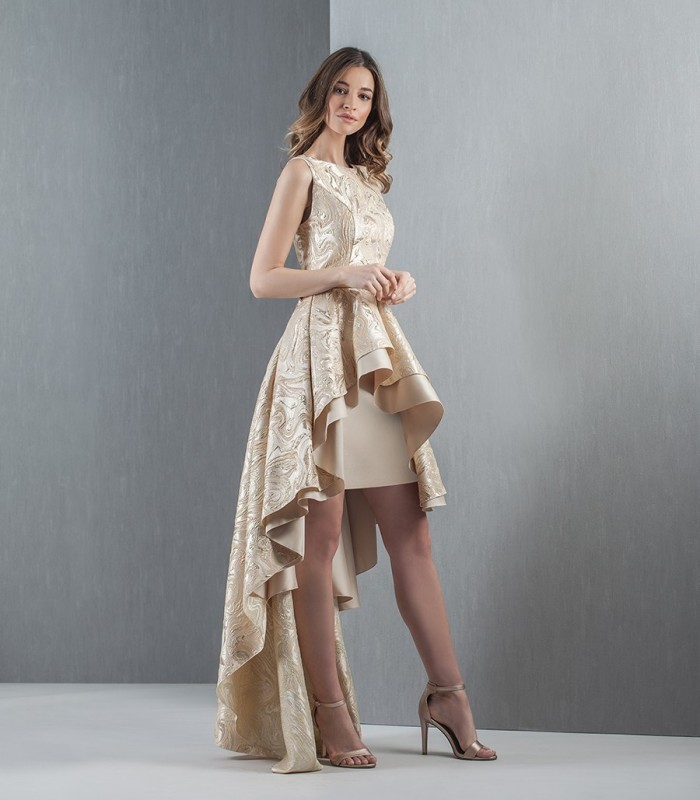 Gold jacquard overskirt dress