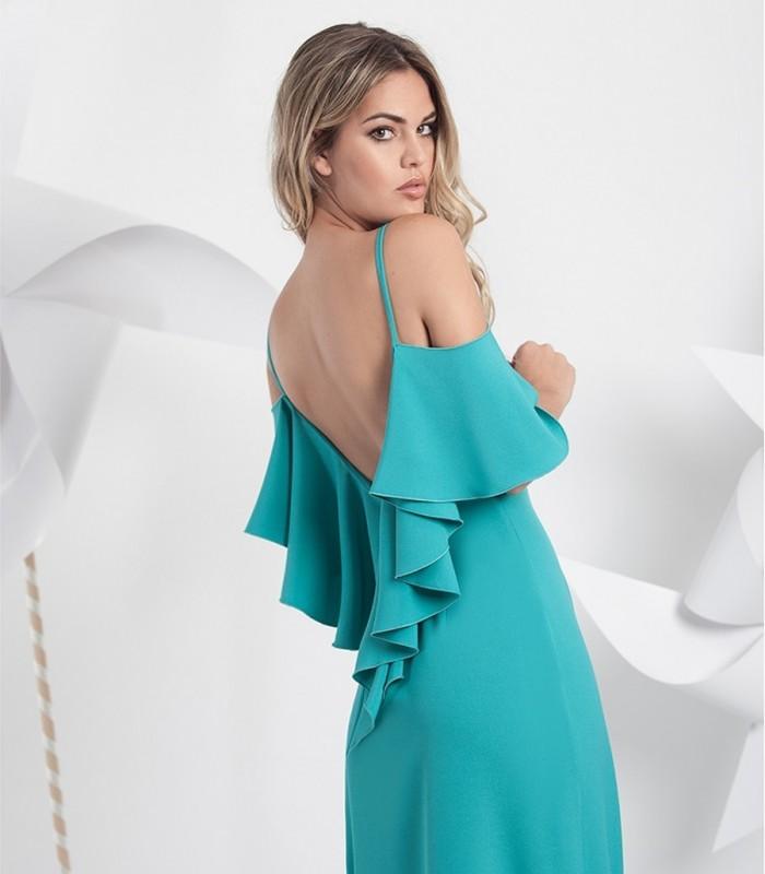 Long plain dress with  ruffled open back