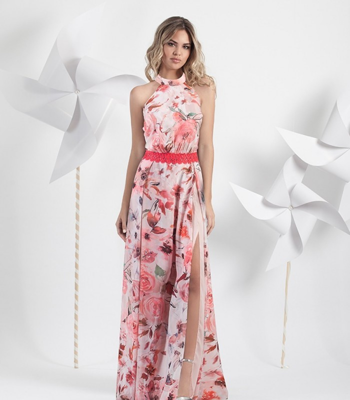 Printed long Halter Dress