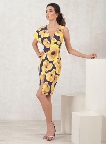 Vestido estampado floral amarillo Moncho