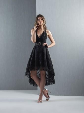 Vestido midi encaje negro Moncho