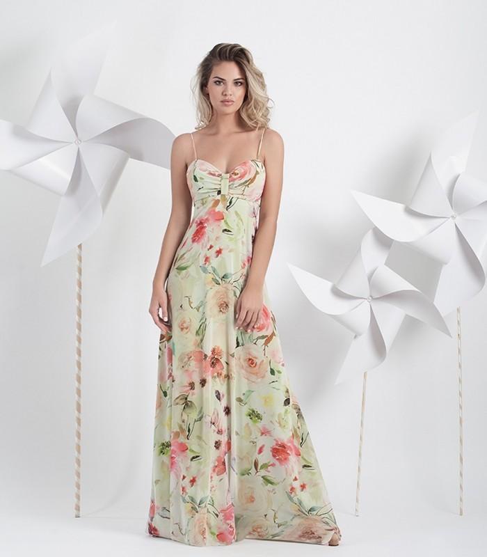 Vestido largo estampado primaveral.