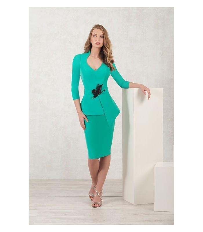 Green water ruffle dress