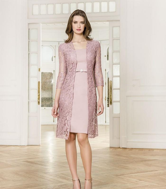 Conjunto Armarella vestido midi liso y abrigo bordado