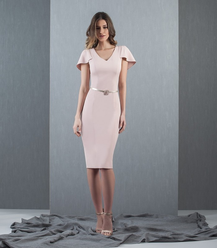 Nude straight dress with ruffles