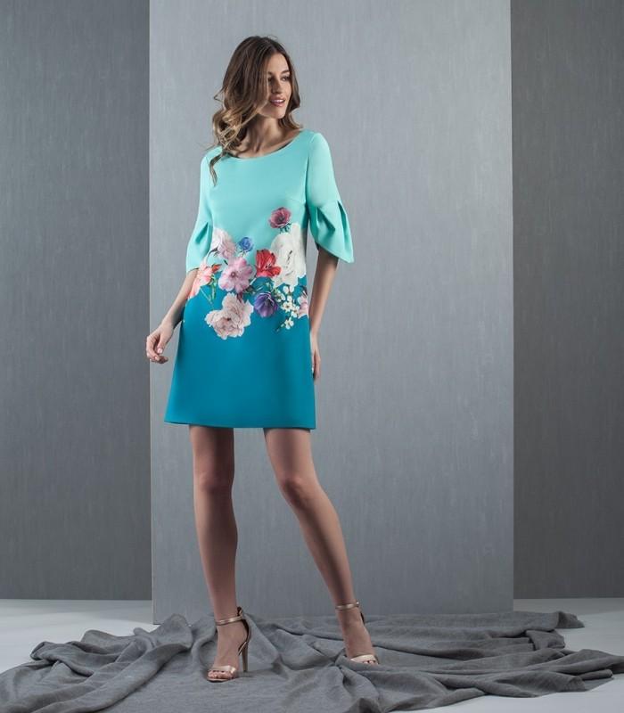 Vestido bicolor azul estampado