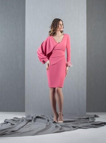Pink asymmetric sleeve dress